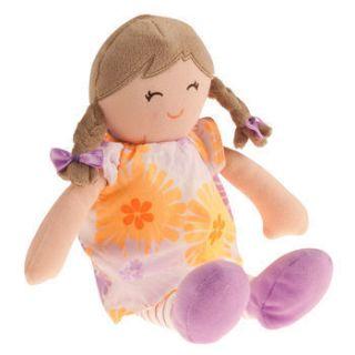 Brunette Pigtails Flower Dress Soft Baby Doll Girl Stuffed Toy