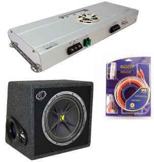 KICKER CAR STEREO SUBWOOFER SYSTEM INCLUDES VC12 BOX, DUB2802 AMP