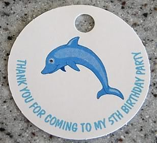 20 Custom Sea Dolphin Favors Gift Tags Birthday Party