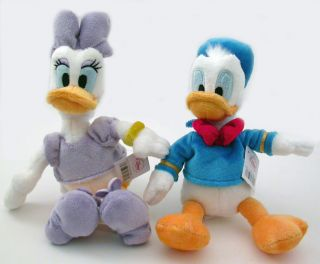 Disney Donald Duck & Daisy Duck Stuffed Plush Mini Bean Doll Set Ultra