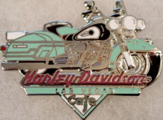 Harley Davidson Cafe LAS VEGAS 1997 Teal Motorcycle PIN Bike HDC Logo