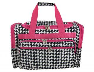 black white houndstooth duffel bag 19 hot pink trim