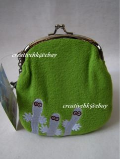 Valley Snufkin Green Plush Clutch Bag Coin Purse Wallet w/ Charm