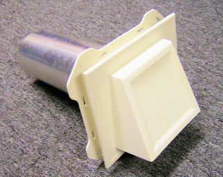 White Dryer Vent Cap Cover Hood w Damper 8 Aluminum Duct Pipe