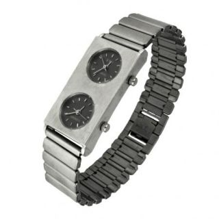 Square Double Sided Black Face Watch Silver Tone Metal Link Band USA