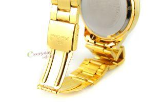 New White Face Dual Day Date Quartz Brilliant Light Watch Mens Golden