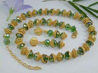 Dubai Beaded Set 24K Gold GP Earrings Necklace Bracelet
