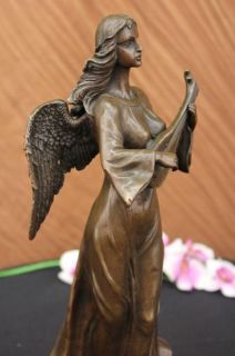 Bronze Sculpture Divine Angel Playing Lute Music Marble Statue by