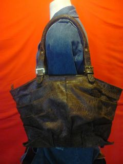 Donna Dixon Large Croc Embossed Leather Shoulder Bag