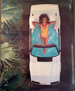 Lady in Swimsuit w White Ford Mustang Convertible Car Vintage 1984 Ad