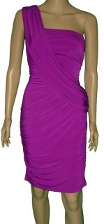 Donna Morgan Purple Orchid Ruched Sash Draped One Shoulder Jersey