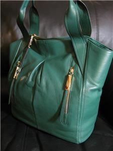 288 00 B Makowsky Green Dunaway Leather Tote Bag Handbag Purse