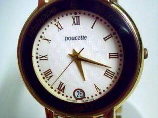 Authentic Philippe Bernard Doucette 23K Gold Quartz Wristwatch