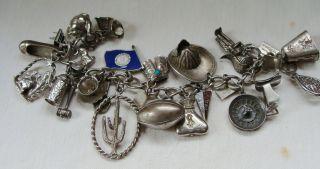 Vintage Sterling Silver Charm Bracelet 24 Charms Nice