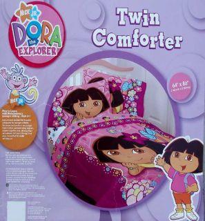 Dora The Explorer Flower Patch Pink Floral Twin Size Comforter Bedding