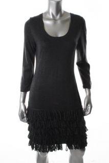 Calvin Klein New Black Fringe Long Sleeve Scoop Neck Sweater Dress M