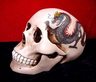 Large Gothic Dragon Tattoo Skull Coin or Money Bank Statue Figurine