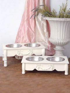 Shabby Cottage Chic 4 Raised White Pet Dog Cat Feeder