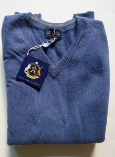 NWT $395 ALLEN SOLLY 100% MONGOLIAN CASHMERE SWEATER BLUE SIZE S