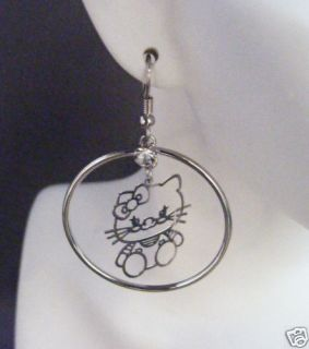Silver Double Rhinestone Hoop Hello Kitty Earrings