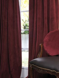 Burgundy Pole Pocket Velvet Blackout Curtains Drapes