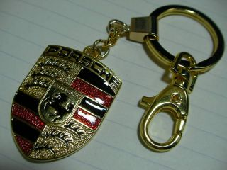 Porsche Double Sided Logo Keychain Key Chain Ring D
