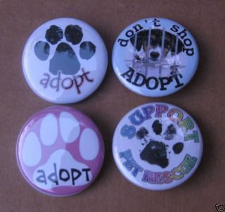 Dog Rescue Adopt Paw Beagle Pins Badge Button