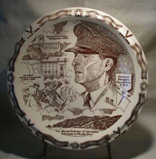 Vernon Kilns Collector Plate of General Douglas MacArthur Brown White