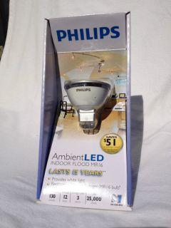 PHILIPS Ambient LED GU5 3 Indoor Flood Light Bulb 3000k 130 Lumens 3w