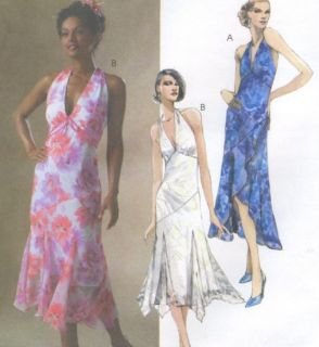 dress sewing pattern lined halter neck shaped hem godets 4773