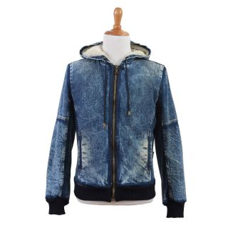 Dolce Gabbana D G Blue Distressed Hooded Full Zip Jeans Jacket US M EU