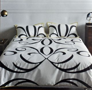 Dwell Studio Queen Baroque Scroll Comforter Bed Set NEW Black White