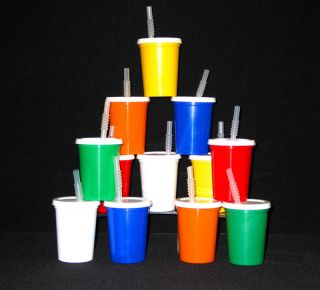 100 12 oz Kids Plastic Drinking Glasses Lids Straws Cup
