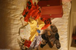 LOT OF AMERICAN GIRL DOLL CLOTHES AND ACCESSORIES BETTY BEAR BOOKS RED