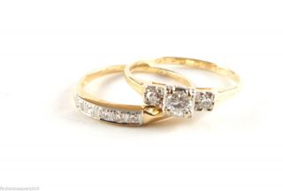 1940's 14k Yellow Gold Diamond Wedding Ring Band Set Size 7 5