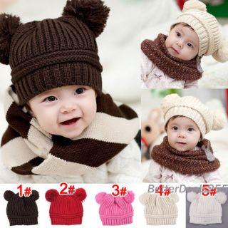 Korean Baby Love Dual Ball Girls Boys Wool Knit Sweater Cap Winter Hat