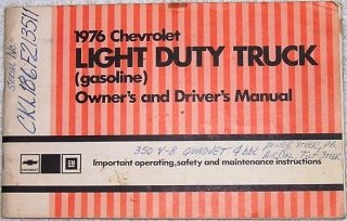 Chevrolet Light Duty Truck Owners and Drivers Manual Gasoline