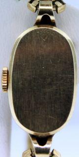 14k Yellow Gold Vintage Antique Ladies Elgin Wrist Watch w Diamonds at