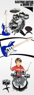 Black Toy Children Drum Set Kid Musical Electric Guitar Boy Girl