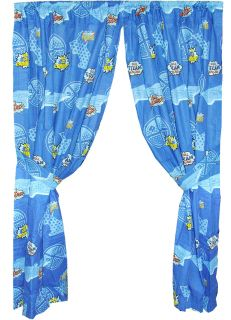 TRAIN CURTAIN SET   Blue Tank Engine Railroad Window Panels Drapes