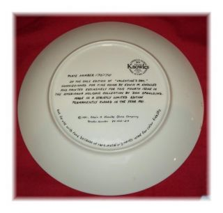 New 1981 Valentines Day Plate by Don Spaulding w Box COA