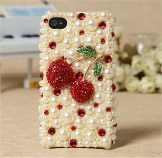 Red Cherry Deco Kits for DIY Mobile Phone iPhone 4G 4S 5 Case Shell