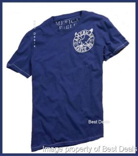 American Eagle Mens AE Athletic Fit Blue Graphic T Shirt Free Fast