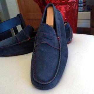 Mens Donald Pliner Vinco Blue Suede Driving Shoe Loafers Sz 11 Slip