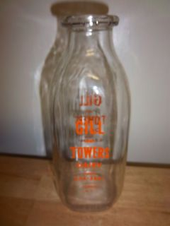 GLASS QUART MILK BOTTLE FROM GILL TOWERS DAIRY CORINTH NY EC