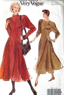 Easy Vogue Dress Pattern Womens Sz 12 14 16 Dolman Sleeve Flared