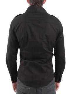 New Mens Black Slim Fit Cotton Dress Shirt Long Sleeve Size s M L XL