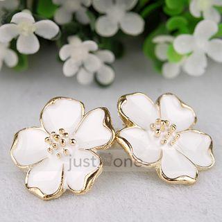 White Jasmine Flower Women Lady Chic Ear Jewelry Earrings Studs