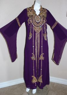 DUBAI FANCY DRESS ABAYA KHALEEJI THOBE KAFTAN BELLY DANCER GOWN FREE