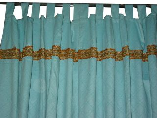 Silk Sari Curtains Panel Door Screen Seablue Self Design Window